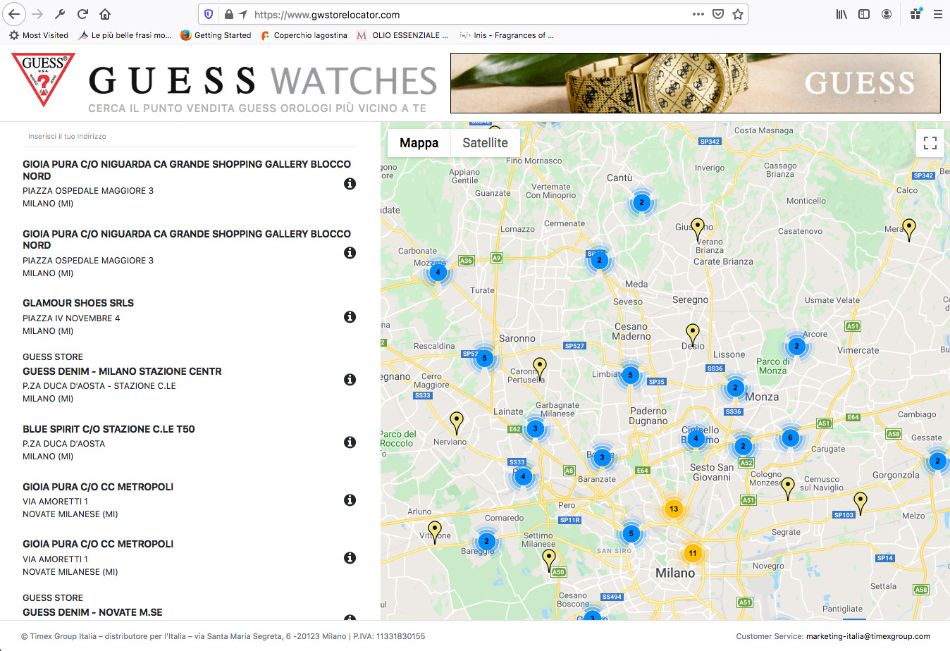 GUESS Watches Store Locator